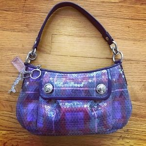 Coach iridescent purple Poppy bag w bag charms